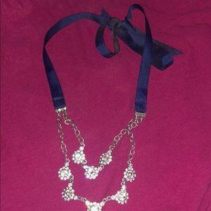 Navy blue ribbon/diamond necklace